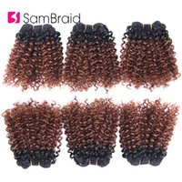 Wholesale synthetic kinky curly hair weave resale online - 3 Bundles Bohemian Style Short Afro Kinky Curly Hair Wefts Inches Ombre Blended Hair Weaves Synthetic Extensions