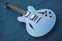 Wholesale blue electric guitars for sale online - Manufacturers custom direct sales hot sky blue jazz double F hole hollow electric guitar high quality jazz guitar