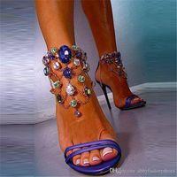 кристалл с открытыми пальцами оптовых-2017 Женская Мода Сандалии Кристаллы Женская Обувь Шпильки Сандалии На Высоком Каблуке Открытым Носком Сандалии Свадебной Обуви Назад Молния Лодыжки Ботинки Strappy