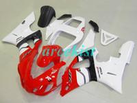 99 98 yamaha r1 carenado rojo al por mayor-Nueva compresión ABS moho motocicleta carenados en forma para Yamaha YZF-R1-1000 1998-1999 98 99 carenado de carrocería roja del blanco personalizado