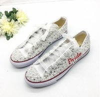 Wholesale pearl white flats resale online - Luxury Pearls Bride Wedding Shoes Handmade Major Beaded Outdoor Beach Casual Canvas Plimsoll Bridesmaid Sneaker Flat Shoes