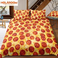 ingrosso piumino singolo 3d-Set di biancheria da letto di stampa 3D Set di copripiumini creativi Delicious Pizza Pattern Single Twin Regina King Child Bedroom Decor Home Textile