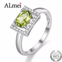 перидот камни оптовых-Uloveido Diamond Jewelry 1ct Peridot Ring 925 Sterling Silver Wedding Rings for Women Gift with Natural Green Stone 40%off FJ056