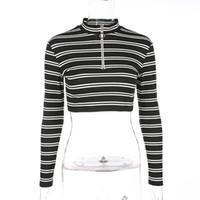 модные женские толстовки оптовых-New Women Girls Fashion Zipper-up Front Striped T-shirt Long Sleeved Crop Top Slim Fit Pullovers Sweatshirt for Ladies