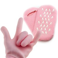 silikon kadın ayakları toptan satış-Lady Kullanımlık SPA Çorap Eldiven Ile Silikon Parçacıklar Kadınlar El Ayak Bakımı Maskesi Eldiven Sıcak Satış 7 5 P ...