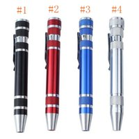 ремонтные ручки оптовых-Многофункциональный 8 в 1 прецизионных отверток с магнитным Мини Портативный Портативный алюминиевый инструмент Pen Tools Ремонт для мобильного телефона EEA1203