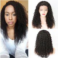 perruque de dentelle malaysian parting achat en gros de-Malaysian Kinky Curly Full Lace perruques de cheveux humains avec des poils de bébé 130 densité avant de lacet perruques gratuit partie du côté partie sans colle perruques de dentelle