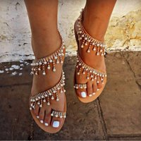 ingrosso sandali perline-Scarpe estive Sandali donna 2019 Pearl Flats sandali gladiatore donna Fashion String Bead beach sapato feminino