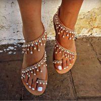 boncuk sandaletleri toptan satış-Yaz Ayakkabı Kadın sandalet 2019 Inci Flats gladyatör sandalet kadınlar Moda Dize Boncuk plaj sapato feminino