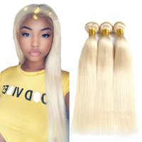 Wholesale remy blonde human hair weave extension resale online - Malaysian Blonde Straight human hair weave Straight human Hair Bundles Malaysian human Virgin hair extension Non Remy