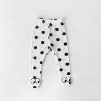çocuklar için beyaz çoraplar toptan satış-Bebek Kız için tayt 2019 Bahar Polka Dot Gözler Pamuklu Çorap Pembe Beyaz Çocuk Giyim 0-2 T E85006