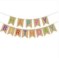 bannières anniversaire livraison gratuite achat en gros de-Ventes 2019 !!! En gros livraison gratuite fête d'anniversaire décoration joyeux anniversaire bannière Home Decor