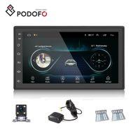 espejo gps mp3 al por mayor-Podofo Android 8.1 Reproductor de DVD para automóvil 2 Din 2.5D Glass 7