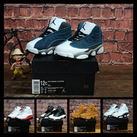 Wholesale kids basketball shoes for sale resale online - iduzi s Cheap Jumpman XIII basketball shoes s Black White Red Blue Boys Girls Youth Kids air flights aj13 sneakers boots J13 for sale