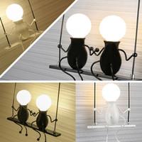 neuheit führte kind lampe großhandel-Neuheit LED Wand Leuchte Einfache Puppe Schaukel Kinder Wandleuchte Montiert Eisen Wandleuchte Wandleuchte für Kinder Baby Schlafzimmer Freies verschiffen