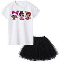 белые короткие юбки оптовых-Детская летняя футболка с коротким рукавом + юбка-сетка из мультфильма Сюрприз футболка с коротким рукавом Детская белая футболка с платьем LJJK1535