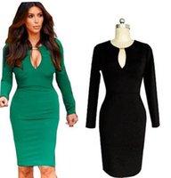 xl siyah kesilmiş elbise toptan satış-Uzun Kollu Kokteyl Elbiseli Siyah Kesip