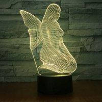 маленькие ангельские лампы оптовых-Новый Оригинальный Электронный Продукт Angel 3d Vision Лампа Оригинальность Подарок На День Рождения Красочный Светодиодный Маленький Ночник