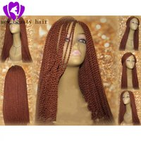 Wholesale 28 inch ombre braiding hair resale online - 250density perruque senegalese twist lace wig brazilian synthetic Braided Wigs with Baby Hair brown color Lace Front Wig for women