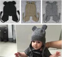 bebek kulak kulaklıkları toptan satış-Yeni Sonbahar Kış Unisex 0-4 Yıl Çocuklar Bebek Kız Erkek Mickey Kulak Tarzı Örme Earmuffs Şapka Bebek 2 Renkler