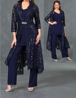 Wholesale hunter green suit resale online - Navy Blue Lace Mother Of The Bride Pant Suits V Neck With Long Jackets Wedding Guest Dress Plus Size Chiffon Mothers Groom Dresses