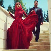 islamische kleider mode großhandel-Elegante Abendkleider Türkische Islamische Hijab Rote Spitze Lange Ärmel Dubai Muslim Formale Abendkleid Anpassen Prom robe de soiree