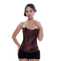 xs clubwear al por mayor-Steampunk Gothic Corset Cremallera Espiral Acero Deshuesado Overbust Bustier Clubwear Cintura Sliming Plus