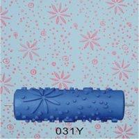freie malerei muster großhandel-5inch 3D Gummirollenwandanstrichrolle, Musterentwurfsdruckrolle ohne Griffgriff, blaue Rolle, 031Y, freies Verschiffen