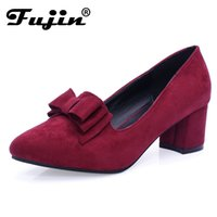 Wholesale big bow shoe flat online - 2019 slipony Brand Big Size Women spring bow square shoe heel women Female Ladies Party With Bow slip on Brand Women Pumps