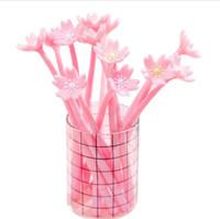 novidade da pena de flor venda por atacado-Bonito rosa sakura gel canetas novidade tinta preta flor de cereja gel de silicone canetas neutras assinando canetas de tinta gel material de escritório da escola papelaria