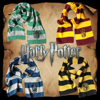 Wholesale scarf online - 4 Styles Harry Potter College Scarf Gryffindor Slytherin Hufflepuff Ravenclaw Knitted Neckscarf With Badge Cosplay Scarves CCA11058