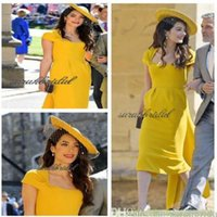 Wholesale tea length portrait dress resale online - 2019 British Royal wed events Amal Alamuddin capped elegant yellow stain same party gowns custom made Special Occasion celebrity Dresses