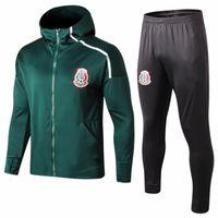 толстовки команд оптовых-Высочайшее качество 2018 2019 Мексика футбольный тренировочный костюм с капюшоном куртки 18 19 CHICHARITO сборная по футболу майо де ног тренировочный костюм