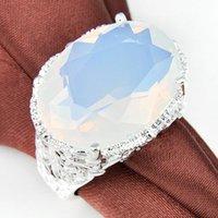 en iyi yüzük markaları toptan satış-Yeni 2018 Marka Alyans 925 ayar Gümüş Kaplama Jewellry Oval Beyaz Aytaşı Kristal Yüzük Kadınlar için Best seller taş Boyutu 15 * 20mm
