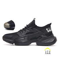 легкие защитные сапоги оптовых-Работа защитная обувь 2019 модные кроссовки Сверхлегкая мягкое дно Мужчины дышащий Anti-разбив Steel Toe Work Boots