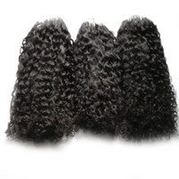 Wholesale dark blonde curly hair extensions for sale - Micro ring hair extensions afro kinky curly human hair bundles Micro Loop Human Hair Extensions s Micro Bead European g