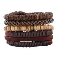 herren armband armband großhandel-2018 Trendy Herren Leder Armband Armbänder Handmade Holz Perlen DIY Vintage Multilayer Leder geflochtene Wrap Armband Schmuck Geschenke
