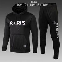 neue trainingsanzug kinder großhandel-PSG Trainingsanzug neu 2018 2019 KIDS Fußball Trainingsanzug 18 19 MBAPPE CAVANI Maillot de Foot Paris Hoodie-Kind Sportbekleidung-Jacken-Kit