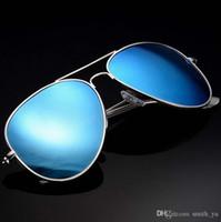 lunettes de soleil femme en ligne achat en gros de-Lunettes de soleil de mode Pilote Hommes Femmes 62mm UV400 Classique En Miroir Designer Cadre Cool En Métal Marque Lunettes Conduite Lunettes de Soleil avec étui en ligne