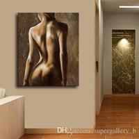 filles nues impression hd achat en gros de-Moderne Abstrait Peint À La Main HD Imprimer Peinture À L'huile Fille nue Sur Haute Qualité Toile Mur Art Décor À La Maison Multi Tailles p116
