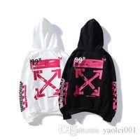 pink pullover großhandel-Hot-Männer neue beiläufige Hoodies Rosa Graffiti-Pfeil Druck OW Tide Marke Männer und Frauen mit der gleichen Ziffer Sweater