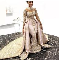 dubai islami elbise toptan satış-Robe De Soiree Müslüman Abiye İslam Dubai Kaftan Suudi Arapça Uzun Akşam elbise İki Adet Balo Elbise 2019 Parti Elbise