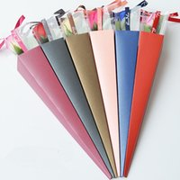 Wholesale paper for wrapping flowers resale online - 2pcs Single Flower Rose Box Paper Triangular Wrapping Bags Colorful Box for Festival Wedding Florist Flowers Gifts Packaging