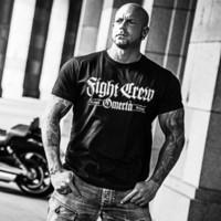 ingrosso collo del tatuaggio dei ragazzi-Vendita calda T Shirt da uomo Moda Lotta Camicia da uomo Tattoo Biker Rocker Bad Boys Streetwear Combattente Estate O-collo Top Y19072201