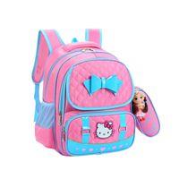 mochila para crianças hello kitty venda por atacado-Olá Kitty Escola Saco Dos Desenhos Animados Bonito Portátil Sacos de Viagem de Grande Capacidade de Armazenamento Zip Mochila Mochila Acessórios Suprimentos Produtos