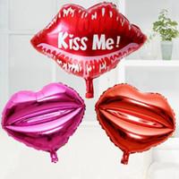 воздушный шар поцелуя оптовых-18inch Kiss Me День Святого Валентина Свадебные украшения Lip Алюминиевый шар Любовь Воздушный шар 23 «» Красный Mouth День рождения Palloncini вечеринок