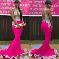 Wholesale hot party african dresses resale online - Hot Pink Appliqued Mermaid Prom Dress Sexy African Backless Evening Long formal Party Gown With Feather Plus Size Custom Made BC1765