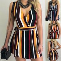 Wholesale women sexy beach dresses resale online - Summer V neck striped Belted Dress Sleeveless Mini Dress Irregular Women Lady Sexy Short beach Dress LJJA2690
