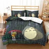 totoro kissenbezug großhandel-3D Tonari no Totoro Bezug Set Soft Geschenk Bettwäschesatz Bettdecke Kissenbezug Königsbettwäsche bequem