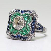 925 dame ring blume großhandel-Antike Art Deco Lady 925 Silber Saphir und Smaragd Blume Engagement Ehering Party Jubiläumsgeschenk Größe 5-12